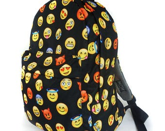 Vintage Backpack Rucksack School Book Bags College Sack Outdoor Emoji 2.0
