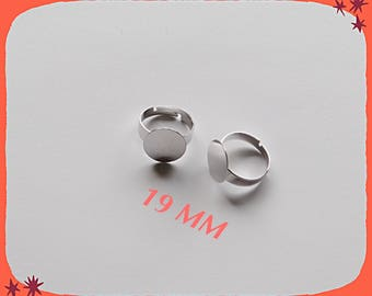 ring adjustable 19 mm in silver with set of 15 mm