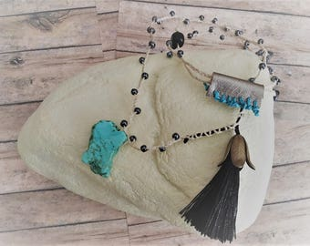 Braided and Beaded Tassel Necklace
