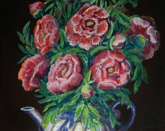Peonies: Lysalamandre signed acrylic painting