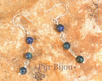 Stone - 4mm Chrysocolla and Sterling Silver 925 earrings