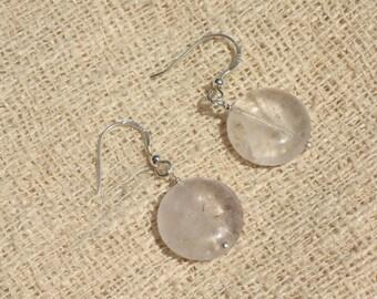 Earrings 925 Silver - Amethyst beads 16mm