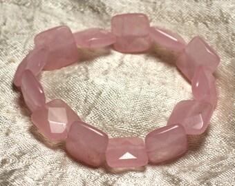 Gemstone - faceted square 14mm pink Jade bracelet