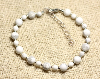 Bracelet 925 sterling silver and Howlite stone - 4 and 6mm