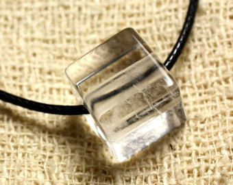Stone - Crystal Quartz 15mm Cube pendant necklace
