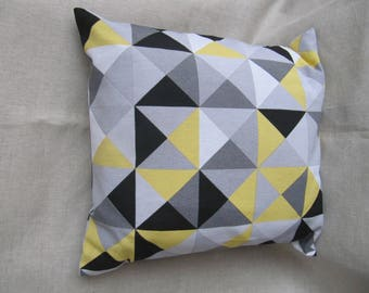 Cushion cover 40 cm x 40 cm, Scandinavian style in yellow and grey tones.