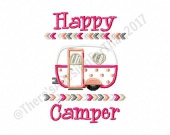 Happy camper embroidery design, camping embroidery design, camping applique design