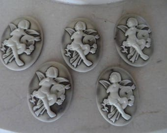 set of 5 cameos vintage romantic Angel 30 x 40 mm