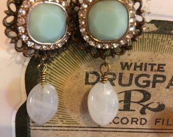 Mint Creme Assemblage Earrings