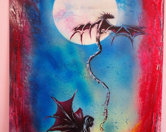SPRAY paint: the Elf and the dragon on poster.  . Spray paint art. Spray painting.