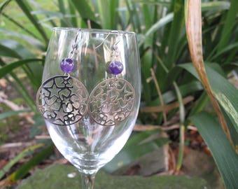 Mandala earrings amethyst and stars