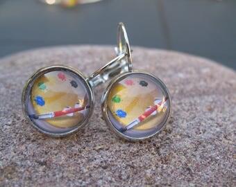 Earrings cabochon paint palette