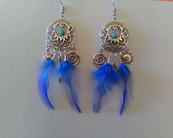 Asymmetric blue Rooster feather earrings