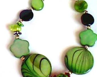 Bracelet - green and black - baroque - mother print - Silver 925.