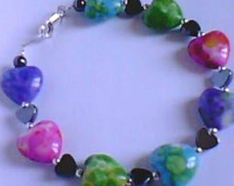 Handmade bracelet - Jade - Silver 925 - romantic style heart