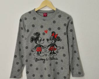 RARE!! Mickey and Minnie by Walt Disney Company Artwork Full Polka Dots Sweatshirt Jumper Pullover Sweater