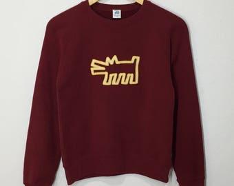 RARE!! Keith Haring Animals Sweatshirt Jumper Pullover Sweater Hoodies