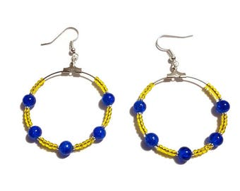 Transparent yellow seed beads and bright blue beads earrings