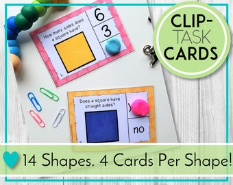 Learning & Teaching Activities, Shape Attributes Clip Cards, Task Cards. Digital Education Resources for Preschool, Kindergarten, Homeschool