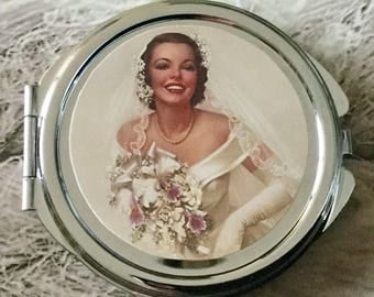 Round wedding Pocket mirror vintage double sided silver