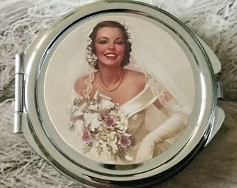 Gift for wedding wedding round Pocket mirror vintage double sided silver