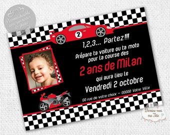 "Invitation customizable birthday ""race car"" - personalized printable Invitation"