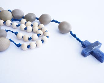 Rosary with wood, seeds and sodalite cross