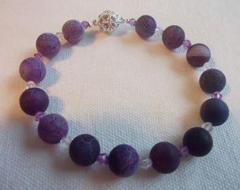Pearl bracelet pink agate and purple bracelet