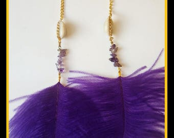 Long Ostrich Feather and Amethyst Earring