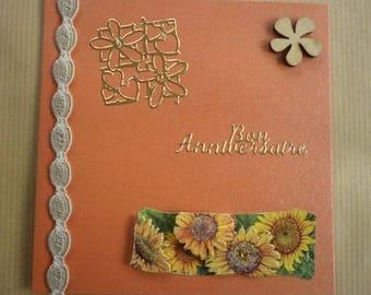 birthday card orange 12 x 12 cm + matching envelope