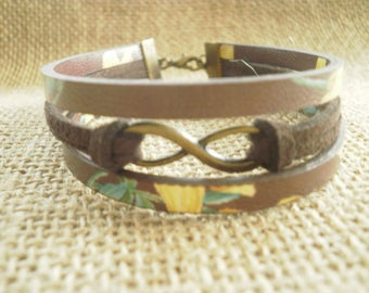 "Bracelet made of suede and faux leather, Brown and yellow colors, ""Infinity"" charm"