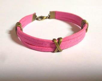 Bronze bracelet with Ribbon passes fuchsia suede