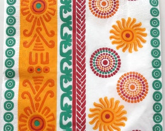 20 patterns Mexican colours ORANGE green white art paper napkins 3371