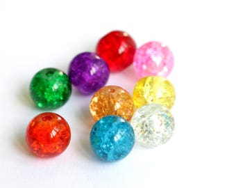 Set of 10 different color Crackle Glass 10mm round beads