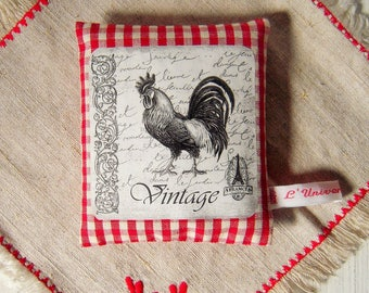 Lavender sachet in gingham pattern rooster
