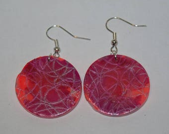 Pink and purple earrings with silver screen pattern pop