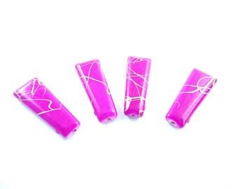 "10 acrylic trapezium ""Drawbench"" hot pink and gold beads"