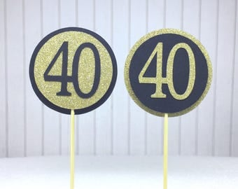 """40th Birthday Cupcake Toppers - Gold Glitter & Black """"40"""" - Set of 12 - Elegant Cake Cupcake Age Topper Picks Party Decorations"""