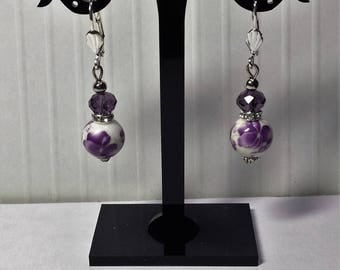 Porcelain and Purple Orchid 1 Swarovski crystal earrings