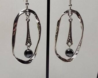 Long hammered earrings genuine hematite