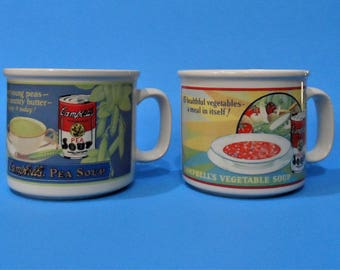 Set of 2 Vintage 1993 CAMPBELLS VEGETABLE SOUP Ceramic Mugs by Westwood  with 1925 Streetcar Ads
