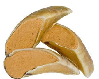 All natural Large Filled Cow Hooves Dog Treat, Peanut Butter, Beef, or Cheee & Bacon,  6 pack