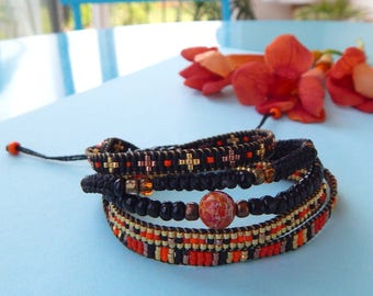 Jasper 5 wrap black orange gold bangles