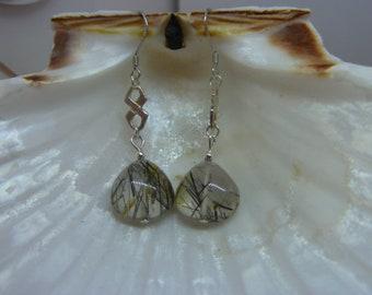 Genuine RUTILATED QUARTZ gemstone earrings
