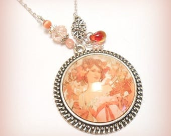 "Cabochon necklace ""tenderness Mucha blossoms"""