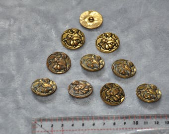 Set of 10 decorative metal shank buttons Minstrel or troubadour - vintage - good condition