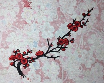 Red blossom flower patch, iron on patch
