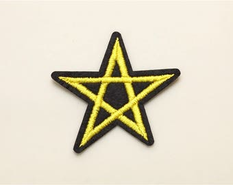 Gold star patch - Iron on patch, sew on patch, embroidered patch