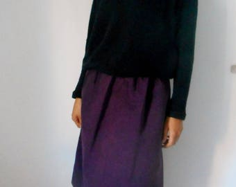 Plum-colored denim skirt