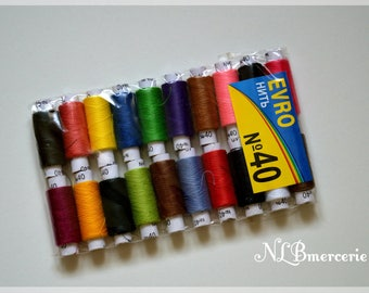 Set of 20 spools of thread to sew different colors